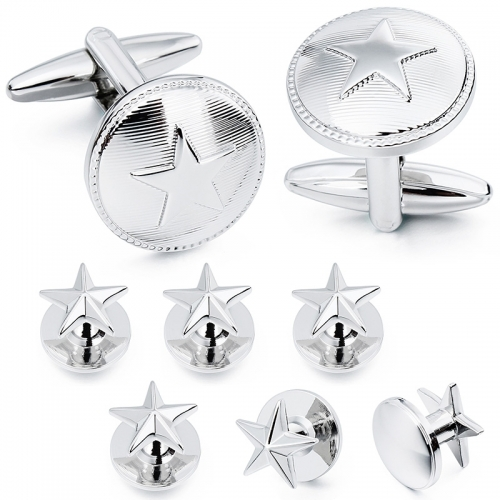 HAWSON 2+6 Imitation Rhodium Plated Five-Pointed Star Cufflinks & Studs Set for Tuxedo Shirts Gift/Present for Men