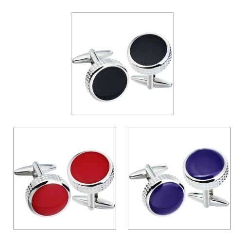 Colorful Onyx Cufflinks for French Shirts Steel Cufflinks for Groom, Father, Wedding Gift