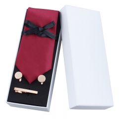 HAWSON 3-Piece Tie Set with Necktie 3 inch Tie-clip 1.9 inch and 15 mm Cuff-links for Men