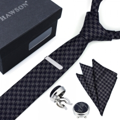 Plaid Necktie Sets for Men with Cufflinks Pocket Square and Tie Clip in Gift Box - HAWSON