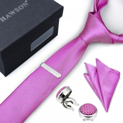 Men's Necktie Pocket Square Sets with Button Cover Cufflinks and Tie Clip in Gift Box