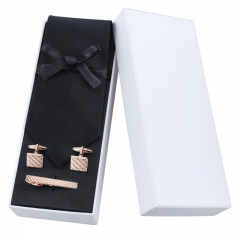 Men's Solid Color Necktie for Suit with Cuff Links and Tie Clip Set