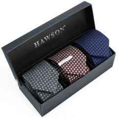 3 pcs Polka Dot Necktie Set for Men with One piece 1.375 inch tie clip - HAWSON