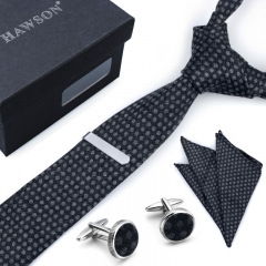 Men's Bamboo Fiber Tie Pocket Square Set with Cuff Links and Tie Clip in Gift Box - HAWSON