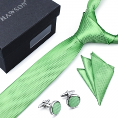 Men's Gingham Tie Pocket Square Set with Cuff Links and Tie Clip in Gift Box -HAWSON