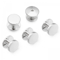 Classic Tuxedo Shirt Studs - Polished Silver Color