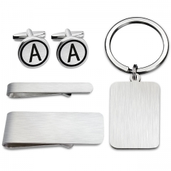 "HAWSON Matching Set of Cufflinks+Tie Clip+Key Chain+Money Clip Set 26 Capital Letters (one of 26, from ""A""-""Z"") Printed Brushed Gift/Present for Men"