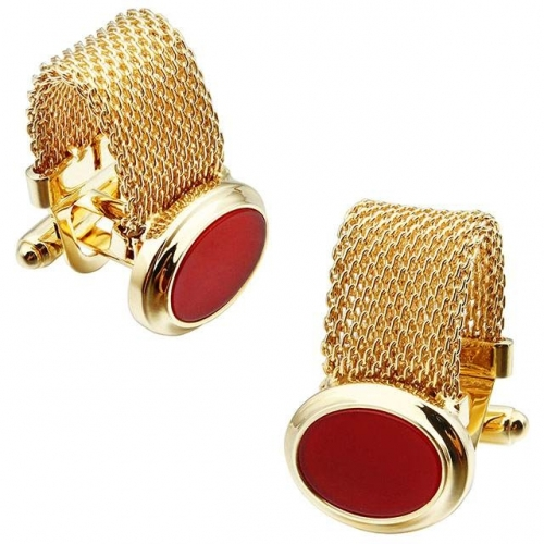 Gold Plating & Onyx Cufflinks for Men, Fathers, Formal Outfit - HAWSON