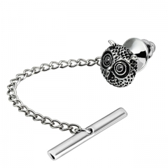 Men's Tie Tack Owl Head Pattern Men Necktie Accessory- HAWSON