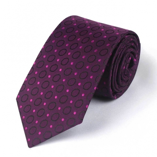 Polka Dot Tie with Polyester Rose Red Necktie for Bridegroom