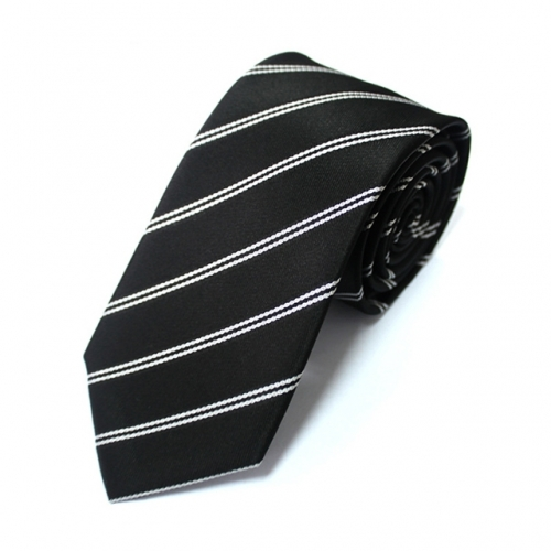 Men's Necktie Thin Striped Ployester Tie in Gift Box