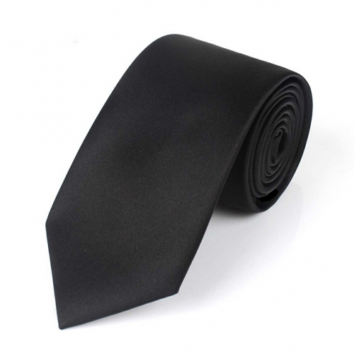 Mens Grosgrain Solid Black Tie in Gift Box
