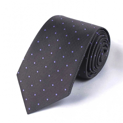 Purple Polka Dots and Black Stripe Tie for Men in Gift Box