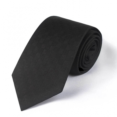 Black Checkered Men's 7cm Arrow Tie for Formal Occasion