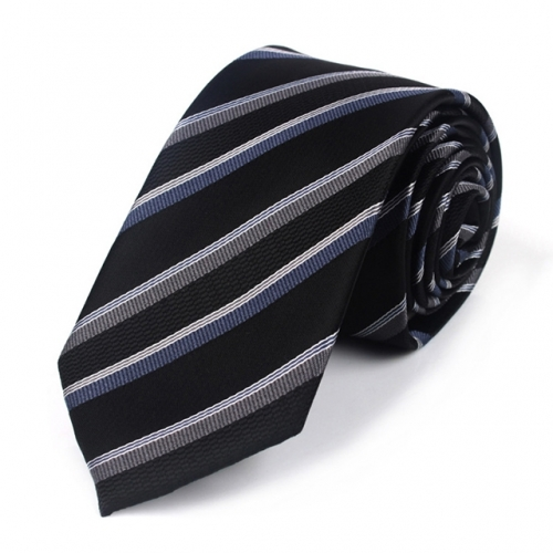 Men's Necktie Striped Polyester Tie 7cm in Black