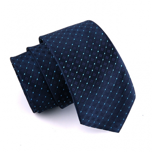 Men's Classic Polyester Tie Plaid Striped Necktie for Men Formal Suit