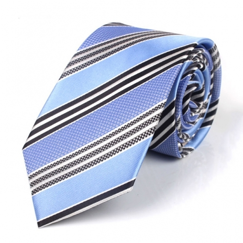 Mens Polyester Necktie Classic Stripe Tie in Gift Box