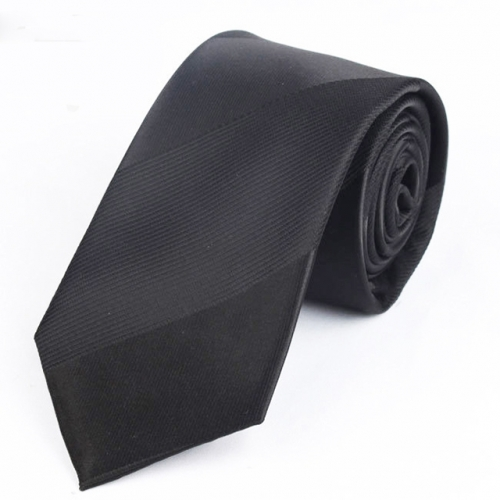 Men's Necktie Wide Striped Polyester Tie 7cm In Black