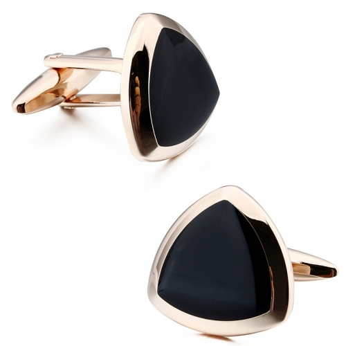 Rose Gold & Black Onyx Cufflinks For Gentlemen's Jewelry Come with Gift Box