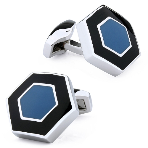 Unique Hexagon Pattern Onyx Cuff Links For Dress Shirt Accessories