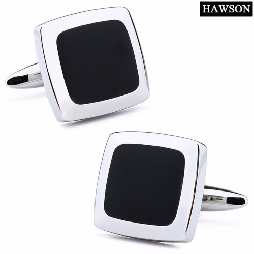 Square Black Onyx Mens Cufflinks, Steel Cuff Links for Wedding, Party, Father's Day
