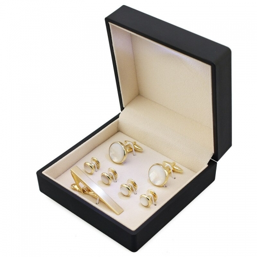 HAWSON Popular Cuff Links and Studs and Tie Clip Jewelry Display Boxes with Light Gift Storage Cases Black High Quality