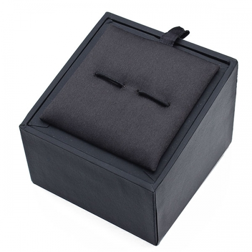 Ladder-shaped black cufflink paper box with inner brown flannel