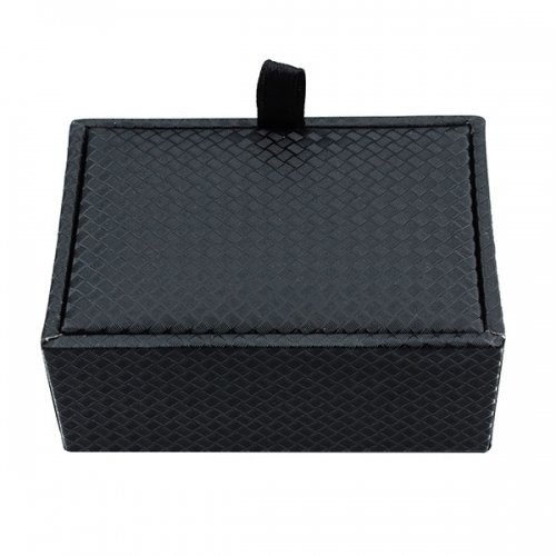 Black carbon fiber pattern gift box cufflinks boxes inside with black plush