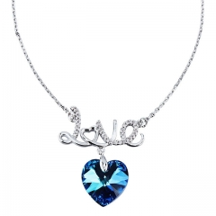 Blue Crystal Heart Necklace For Women Precious Gift for Wedding, Anniversary, Party